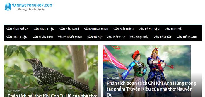 website van mau hay 17 - Một số website bài văn mẫu dành cho học sinh (phần 2)