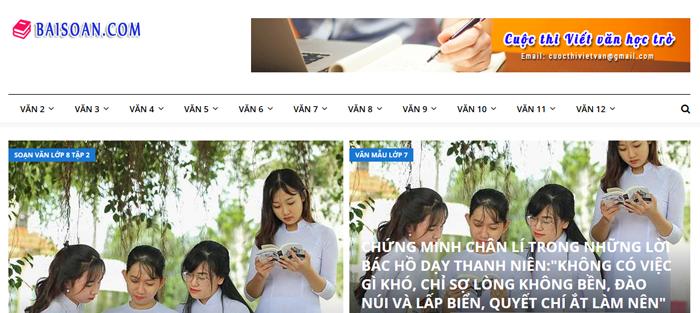 website van mau hay 22 - Một số website bài văn mẫu dành cho học sinh (phần 2)