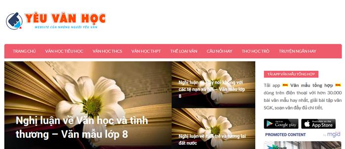 website van mau hay 27 - Một số website bài văn mẫu dành cho học sinh (phần 2)