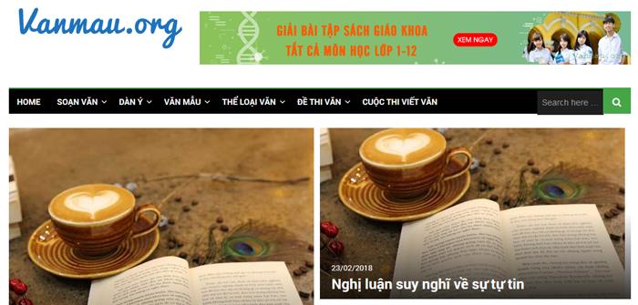 website van mau hay 32 - Một số website bài văn mẫu dành cho học sinh (phần 3)