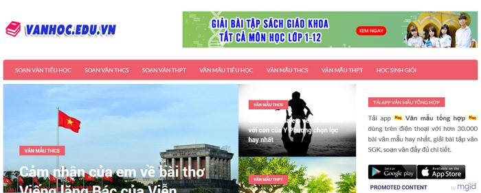 website van mau hay 39 - Một số website bài văn mẫu dành cho học sinh (phần 3)