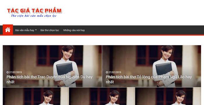 website van mau hay 52 - Một số website bài văn mẫu dành cho học sinh (phần 4 cuối)