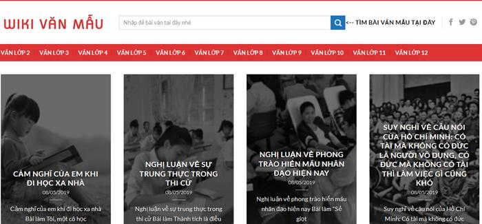 website van mau hay 56 - Một số website bài văn mẫu dành cho học sinh (phần 4 cuối)