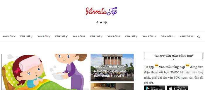 website van mau hay 58 - Một số website bài văn mẫu dành cho học sinh (phần 4 cuối)