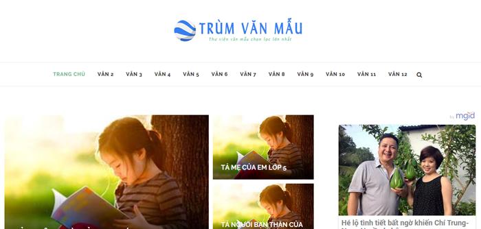 website van mau hay 68 - Một số website bài văn mẫu dành cho học sinh (phần 4 cuối)